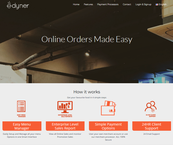 Edyner website for restuarants to take online payments